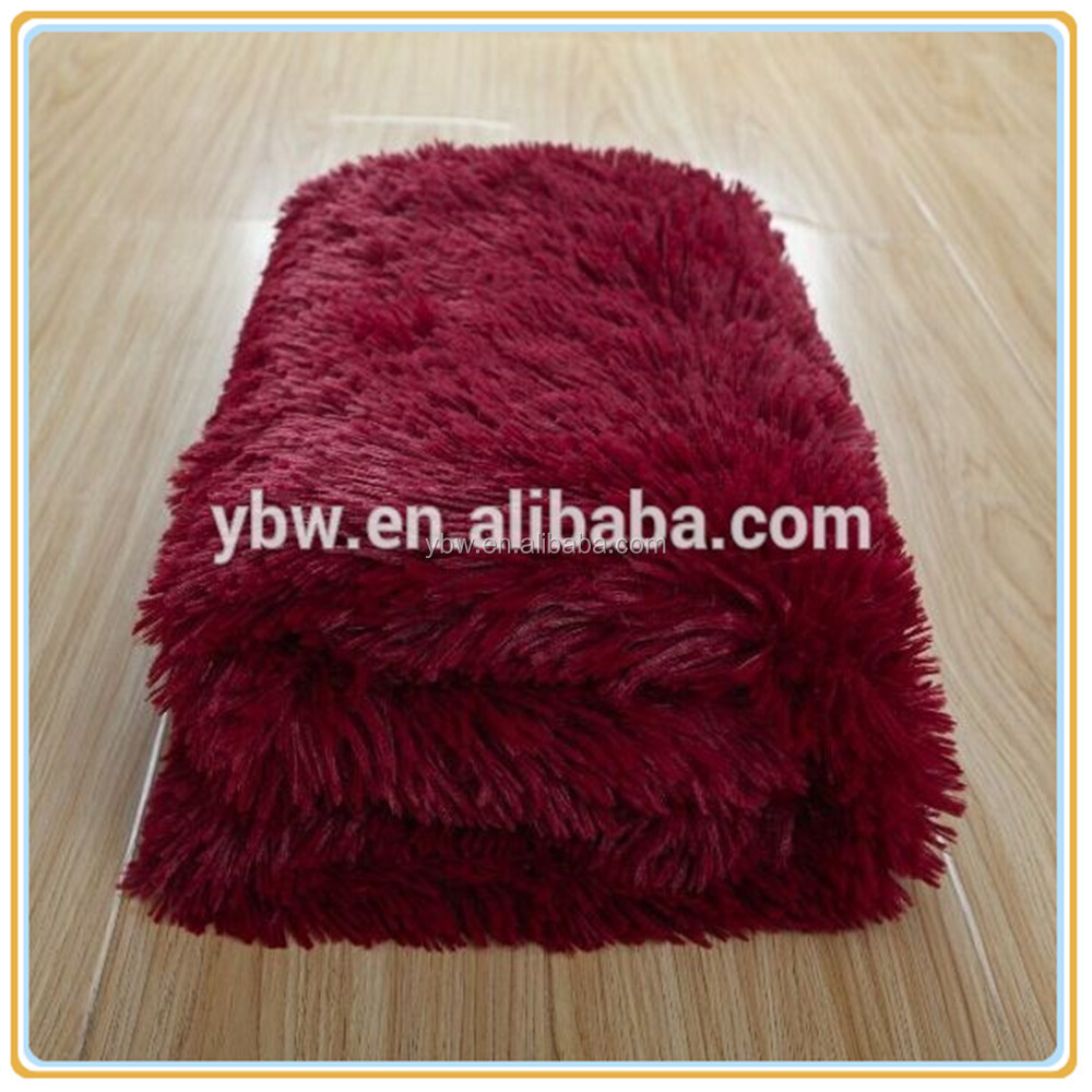 Berry Red Color Lion Hair Fake Fur Throw Plush Blanket Made In China