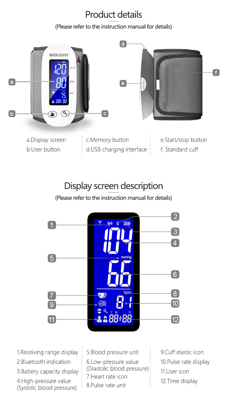Wireless bluetooth function digital arm blood pressure monitor