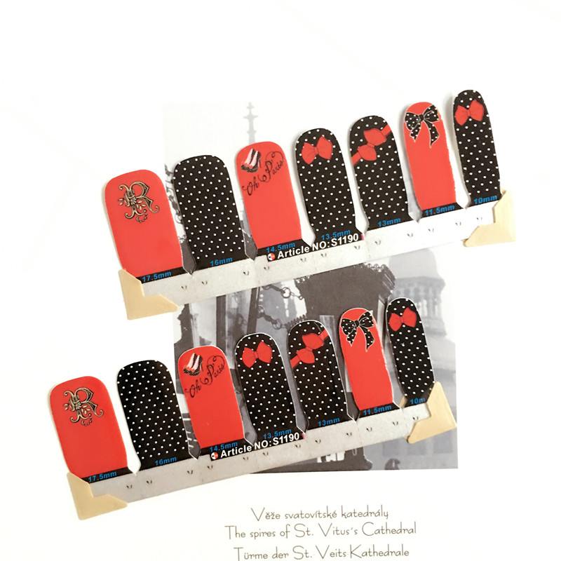 Black Rad Tie high heels Nail Arts Nail Sticker Waterproof Nail Decal Sticker Gel Polish French