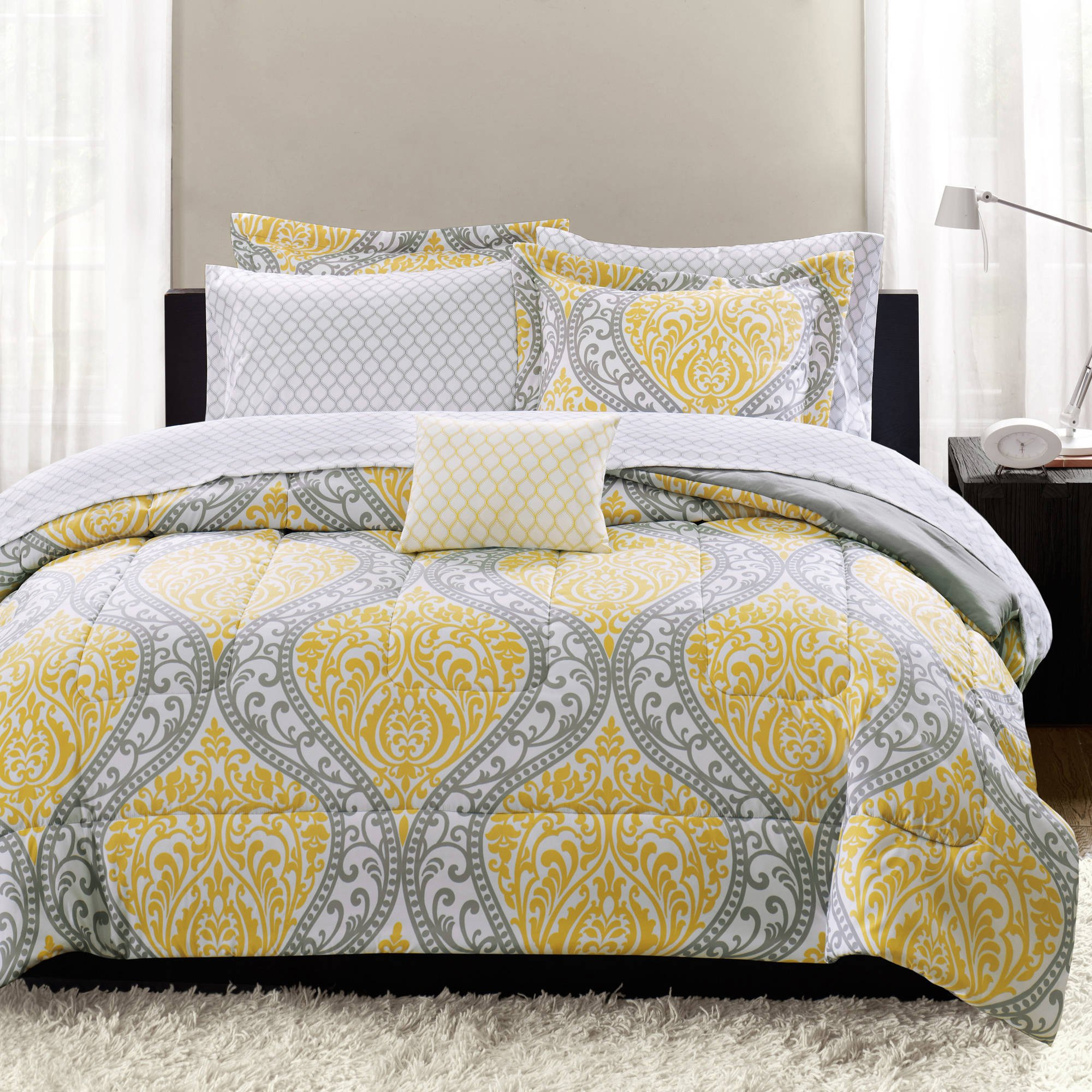 8 Piece Girls Yellow Grey Damask Theme Comforter Queen Set, Beautiful Girly All Over Medallion Geometric Floral Scroll Motif Bedding, Pretty Rich Boho Chic Bohemian Tribal Themed Pattern, Vibrant