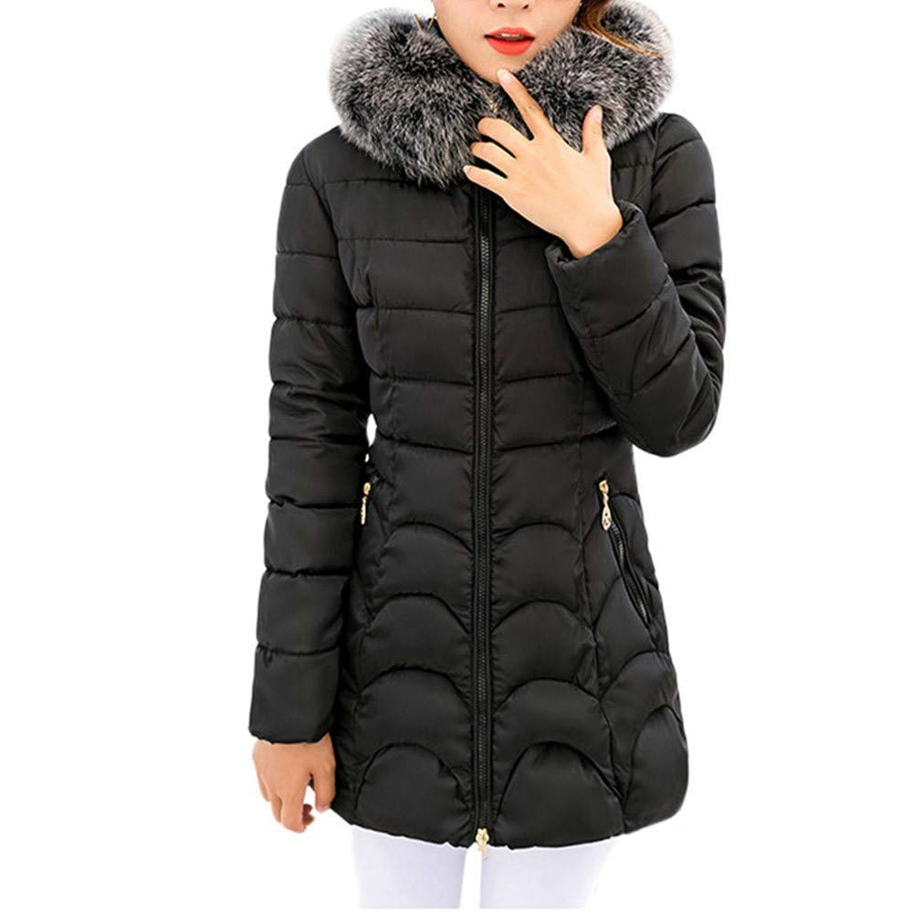 0aab6dc67a745 Get Quotations · Women's Hooded Coats Clearance- Jiayit Women Hooded  Outwear Warm Coat Long Thick Fur Collar Cotton
