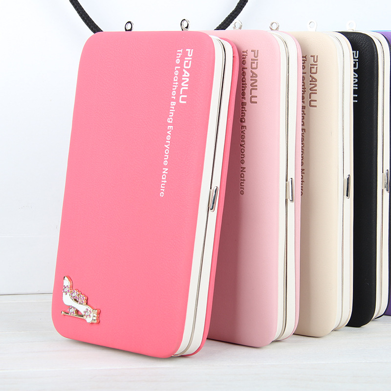 New style women's High-heeled shoes pencil case wallet Ms. Lunch box style purse Mobile Phone Bags long wallet Free Shipping
