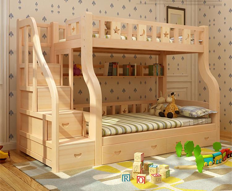 Madera chico cama litera cama de dos pisos para ni os - Literas para ninos espacios pequenos ...