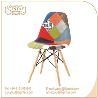 Fabric covered wholesale classic wooden dining leisure chair