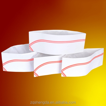 disposable paper hat chef cap with blue red line China made with low price b6a64a71f2b