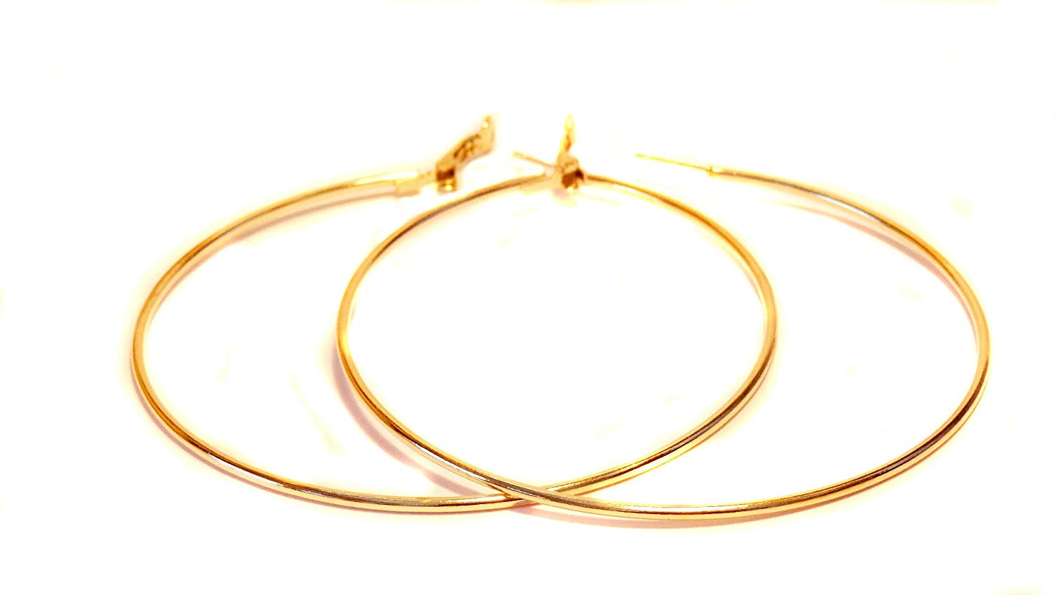 Get Quotations Large Hoop Earrings 3 Inch Gold Tone Simple Thin Hoops