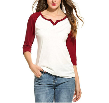 softtextile 3/4 Raglan Sleeve Contrast Color Spliced Round Neck Tee Tops Blouse Women Baseball T Shirt