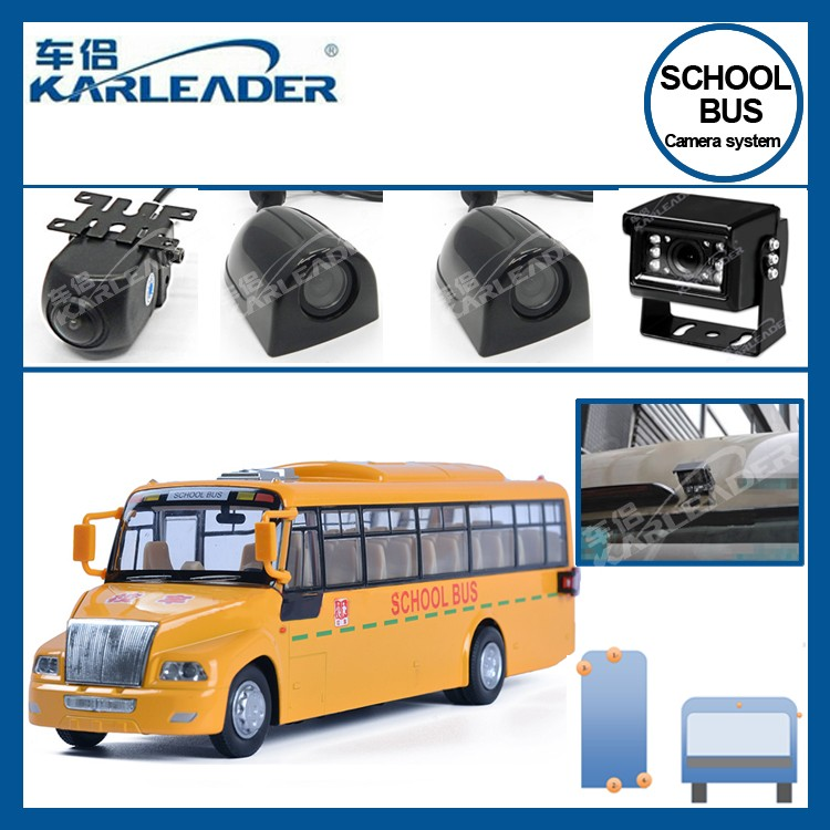 7 inch monitor IR night vision school bus security camera with 4 channel input