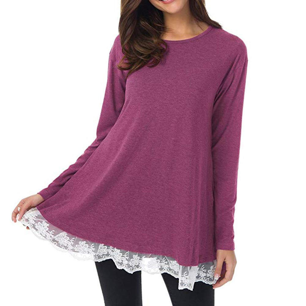 Womens Tops Plus Size Clearance Women's Casual Solid Long O-Neck Full Sleeve Loose Lace Tops Tunic Blouse