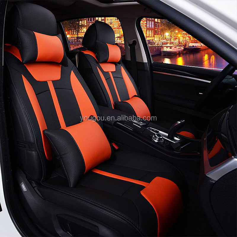 Fashion Maroon Orange Black White Leather Car Seat Cover