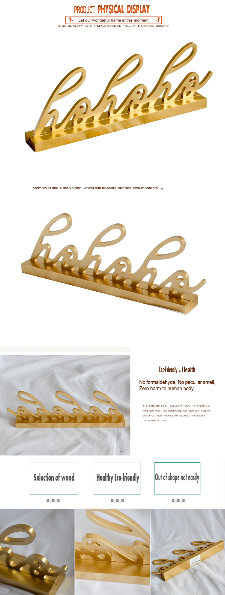 Office small Decoration  wood art minds  alphabet gold letters