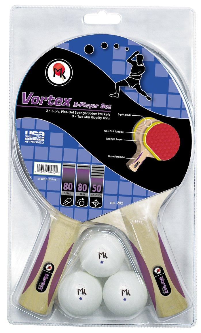 Martin Kilpatrick Vortex 2 Player Table Tennis Racket Set - 2 Paddles - 3 Ping Pong Balls