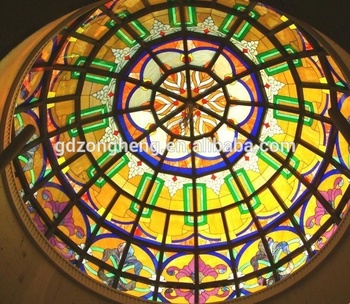 Antique Art Stained Glass Ceiling Dome Personal Customization Cathedral Architectural Coloured Glass Style