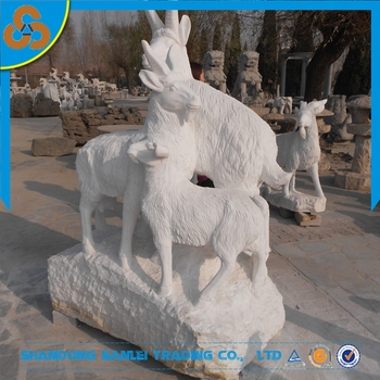 Outdoor Decor White Marble Stone Goat Garden Statue