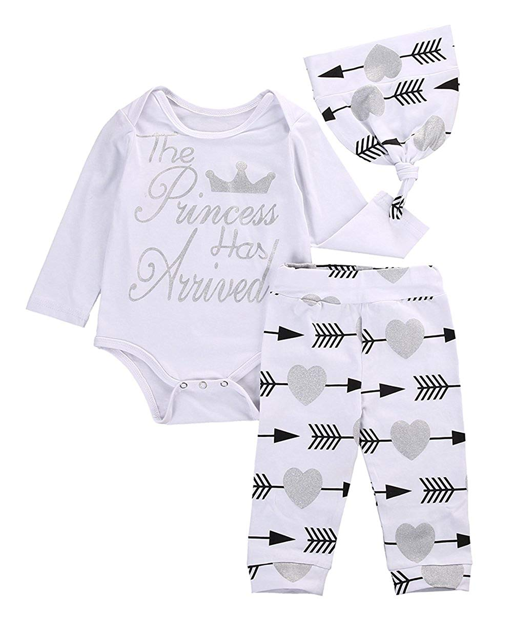 766af36c90d Get Quotations · Newborn Baby Girls Cute Bodysuits with Leggings Cap 3pcs  Outfit Clothes