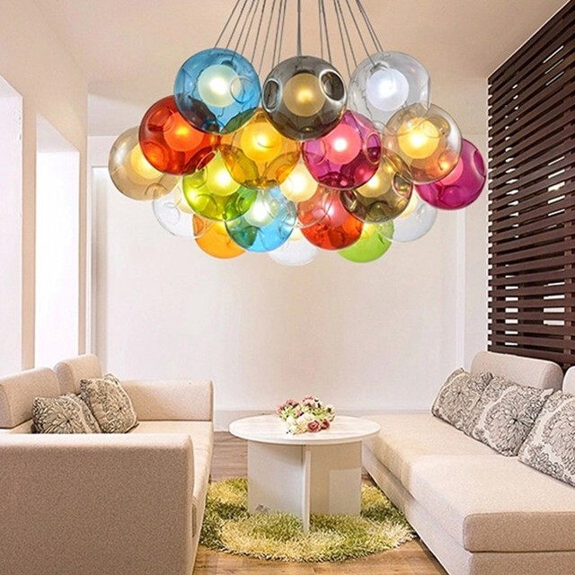 Blown Multi Colored Glass Ball Chandelier Pendant Light