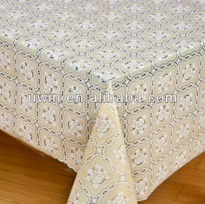 Pvc Embossed Printed Lace Floral Wipe Clean Tablecloth