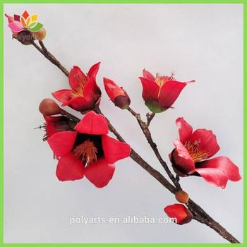 2 color 2 size bombax branch with 5 flowers 4 buds decorative branch flower - Images Of Flowers To Color 2