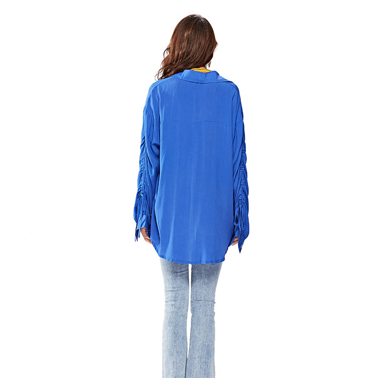 Custom Logo Fall Causal Blue Button Up Long Tie Sleeve Open Stitch Blouse Top Women Blank Tee Shirts