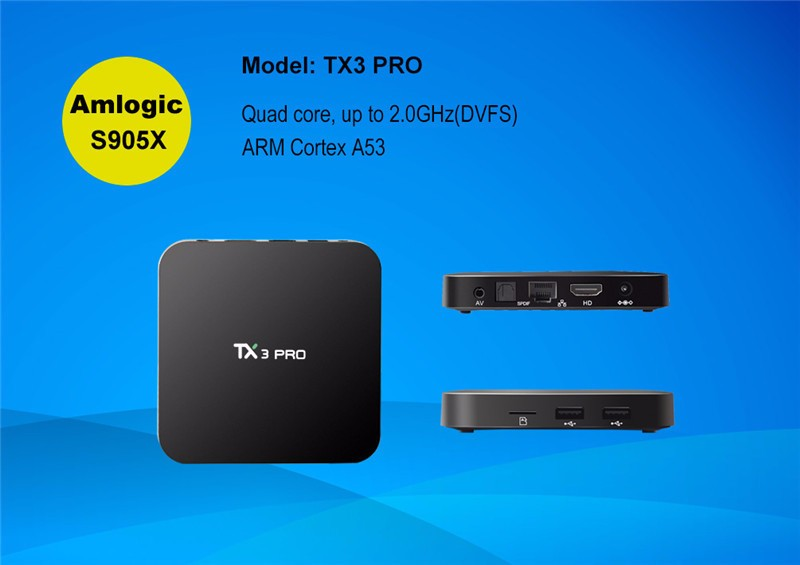 TX3 pro set top box smart with KD player 16.1 Quad core android 6.0 tv box 2018 stable box