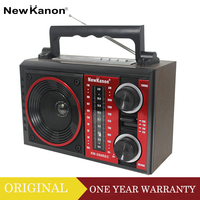 NEW KANON Rechargeable FM/AM/SW Mutiband Retro Style Wooden Radio With USB Player SD Card