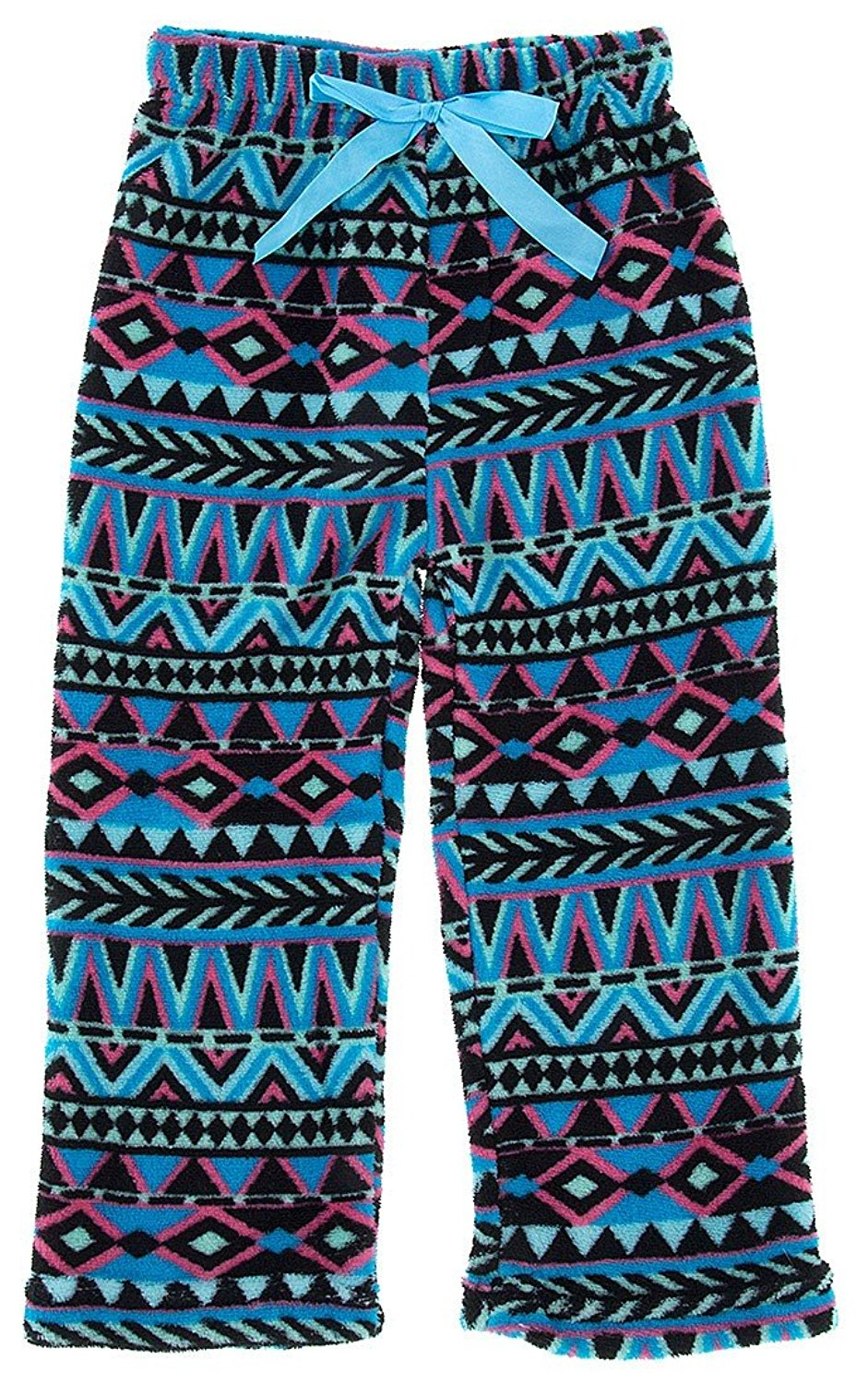 Sweet & Sassy Little Girls' Blue Tribal Print Fleece Pajama Pants