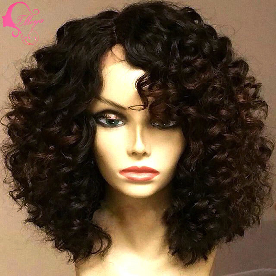 Curly lace front wigs human hair