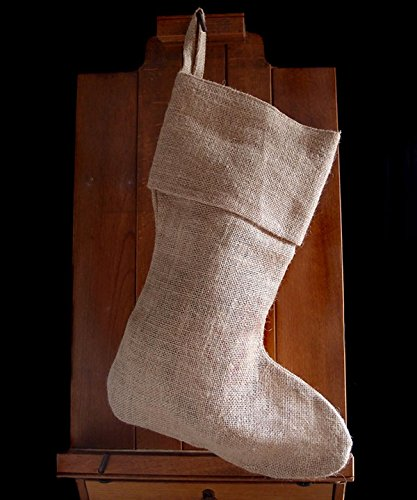 "AK-Trading Burlap Jute Holidays Christmas Stockings - Pack of 3 - Natural Burlap, 8"" x 17""H x 12"" foot"