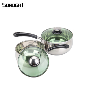 2 pcs glass lids milk pots stainless steel sauce pan sets with bakelite handle
