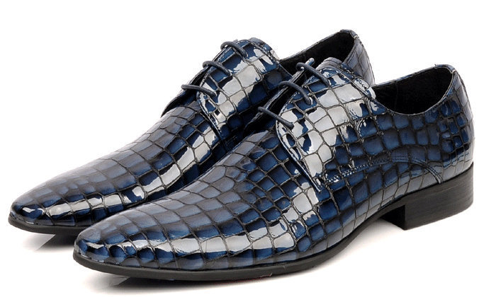 NEW 2015 High top Italian luxury brand style crocodile pattern polish leather men dress shoes casual flats for party size: 6-10