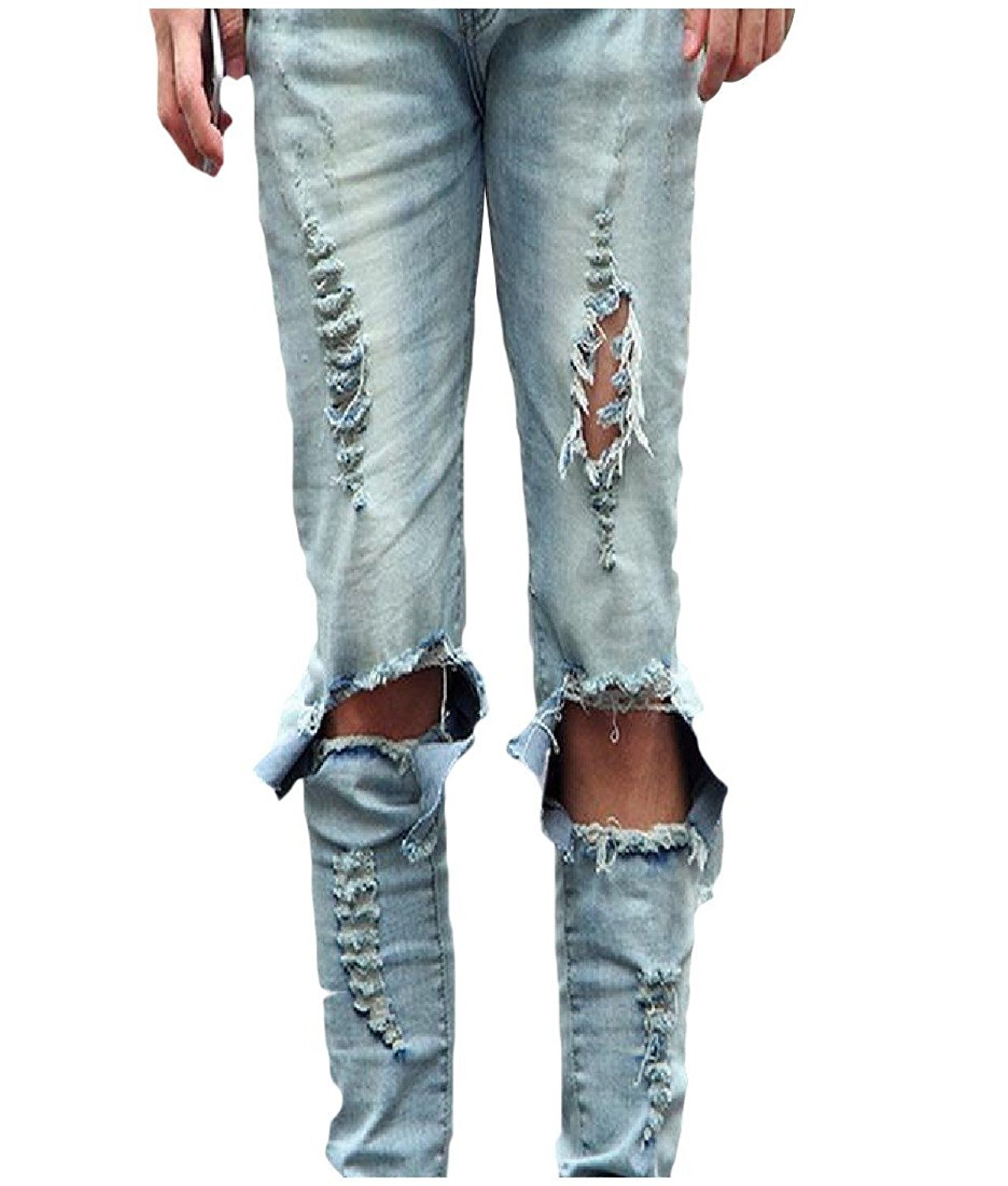 Comaba Mens Pocket Pure Colour Skinny Casual Plus Size Mid Waist Stretch Jean