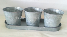 Vintage decorative indoor metal flower pots mini herb pots