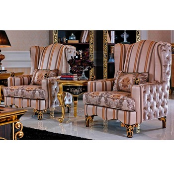 YB61 Antique Gold Indoor Antique Furniture Upholstered Butten Tufted Home  Fabric Solid Wood Leisure Relaxing Chair