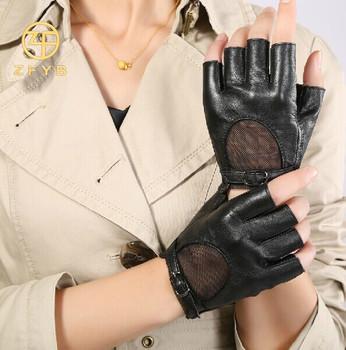 888246209 New Design girls unlined lining driving summer fingerless leather gloves
