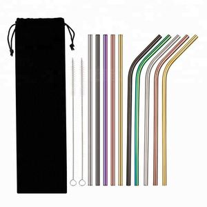 Food Grade 304 Stainless Steel Metal Straws AE014 Bar Supplies Fashion Teeth Shockproof Stainless Steel Straw