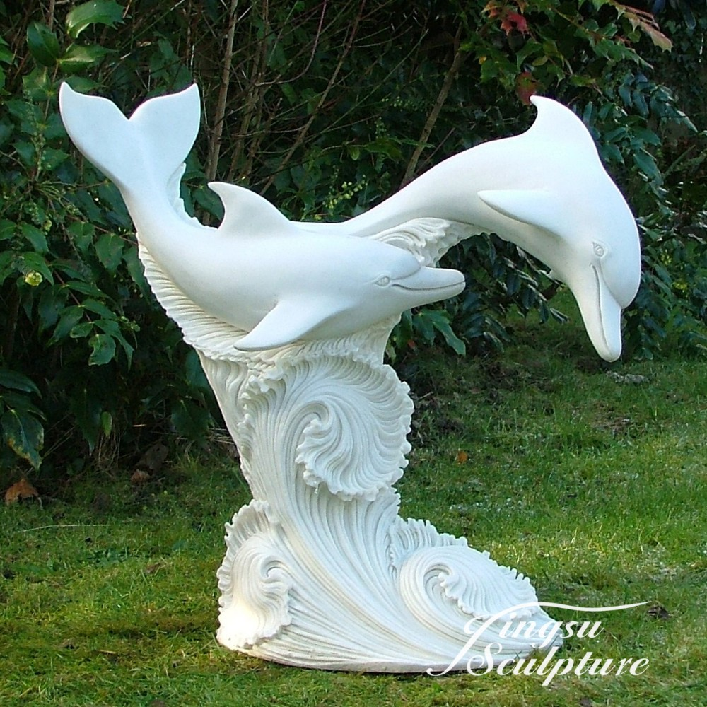 2016 popular design white marble garden water dolphin fountain