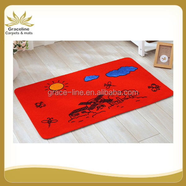 velour suface mat with sticky design and TPR backing nonskid mat
