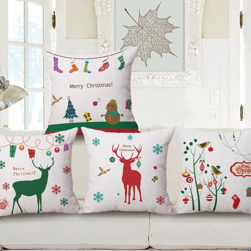 45cm 200g Christmas Socks Gift Pop Thick Fashion Cotton Linen Throw Pillow  Hot Sale 18 Inch New Home Decor Sofa Back Cushion MQQ