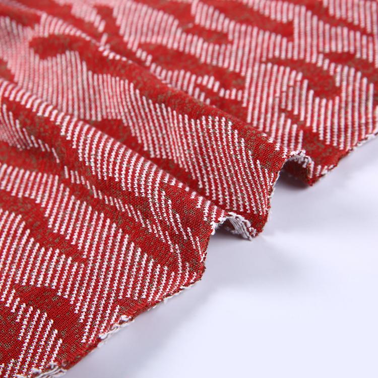 中国ホット赤と白のパターン高品質ジャカードテーブルクロス生地