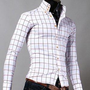 Men's Premium slim pit Check Shirts (white) ER.SH032, View men's ...