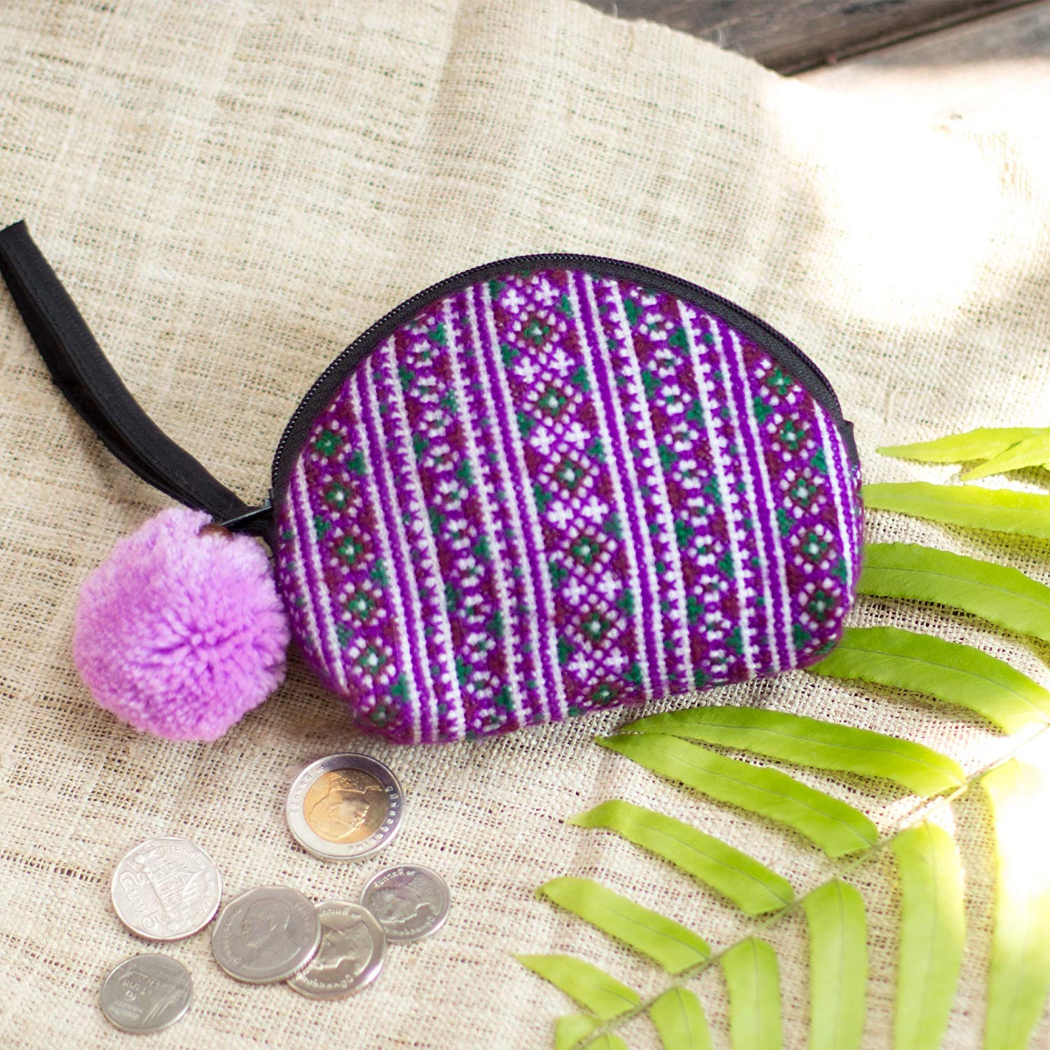 Changnoi One of a Kind Women Coin Purse with Hmong Hill Tribe Embroidered in Purple, Pom Pom Pouch for Women, Boho Purse, Gift Purse