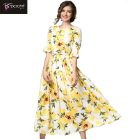 Europe and America Women Fashion Brief Long Dress Flare Half Sleeve Round Neck Cool Fruit Print Pleated Maxi Party Dress