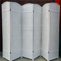 Chinese Wooden Outdoor Wrought Iron Folding White Screen Divider