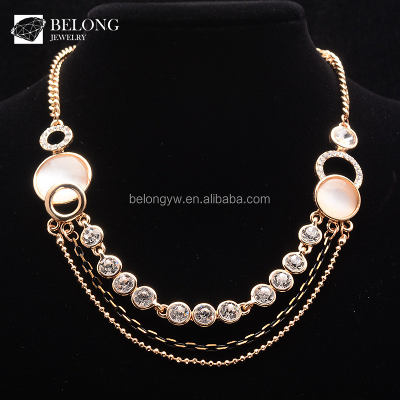 BLN0250 jewelry gold plated 18K multi layer chains crystal gem necklace