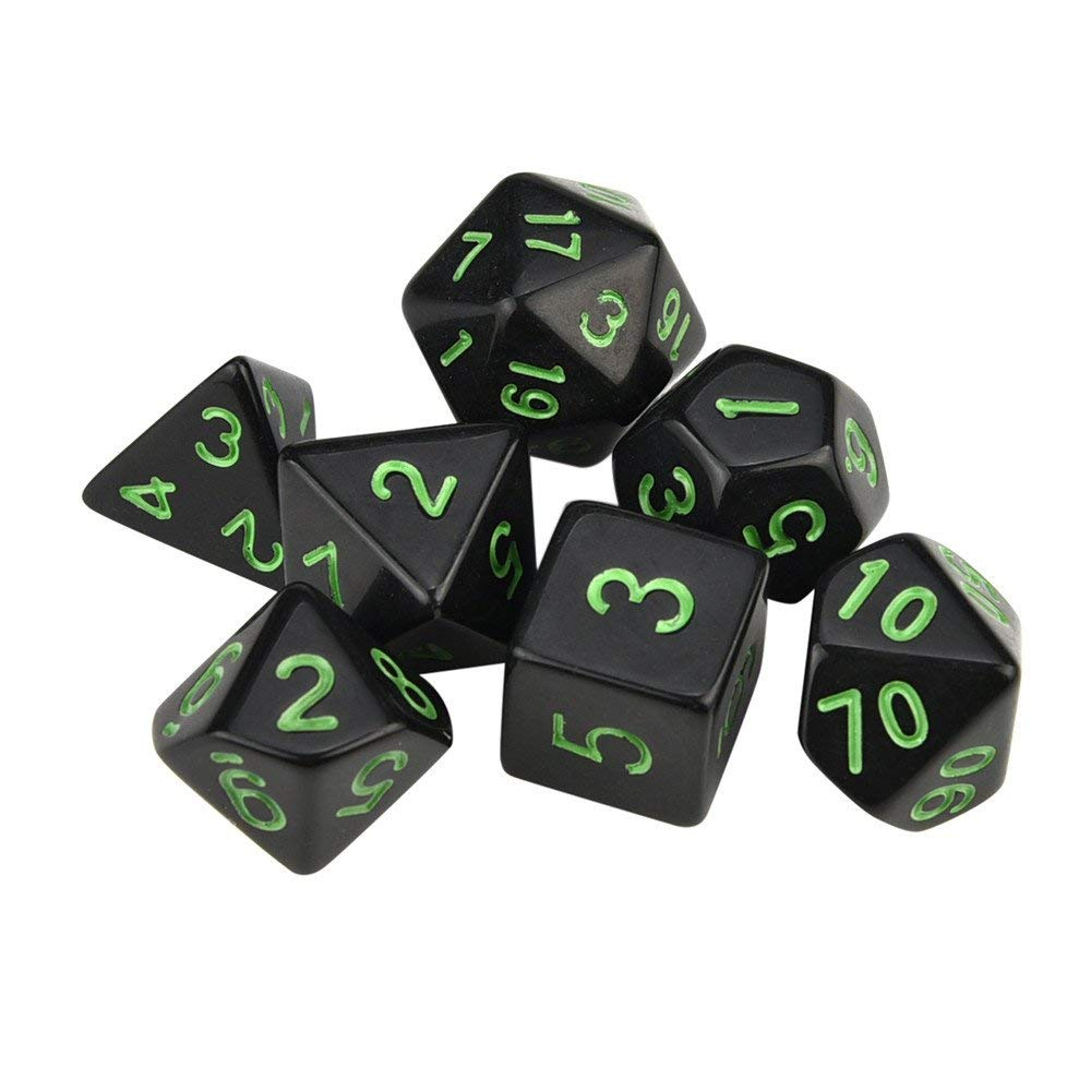 Trpg Dice,Game Dungeons & Dragons Multisided Dice Set,Multicolor Polyhedral D4-D20 Dices 7pcs (Green)