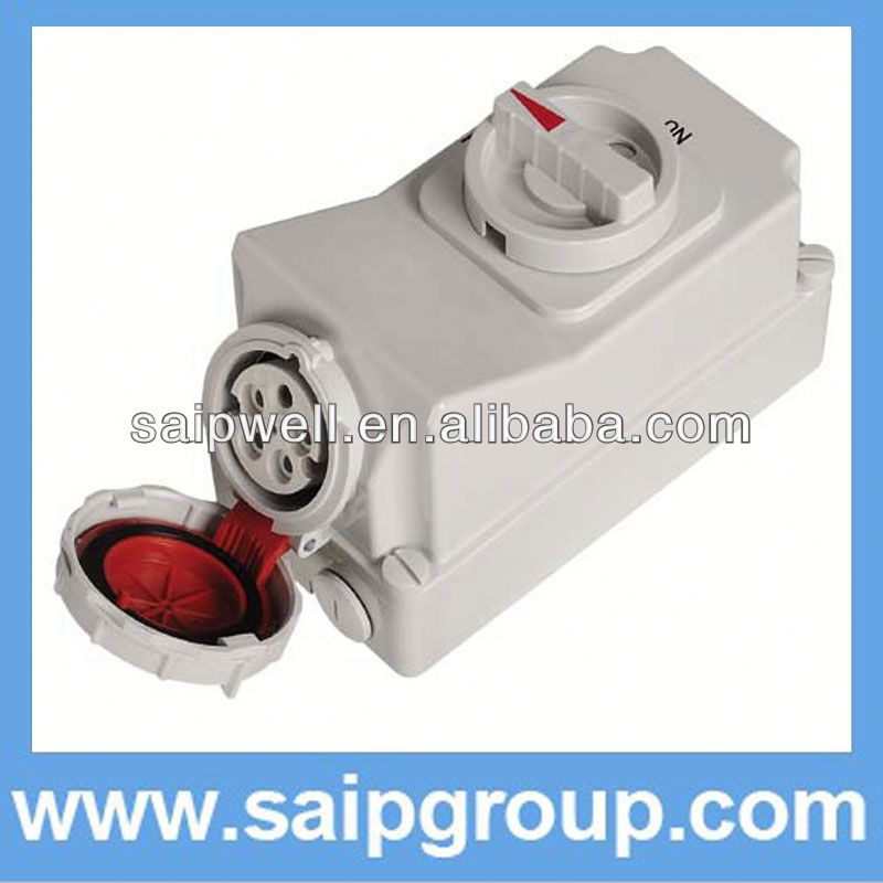 32A 3Pwatrproof IP 67 socket electrical double socket with Switch and Locks SP5793