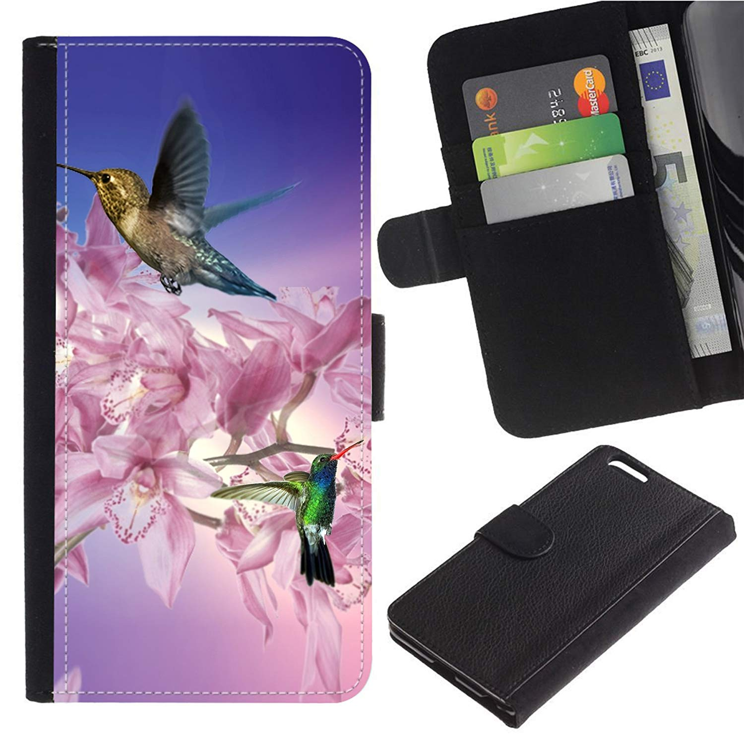 [White Pink Orchid Purple And Hummingbirds] For Moto E5 Play/Moto E5 Cruise, Flip Leather Wallet Holsters Pouch Skin Case