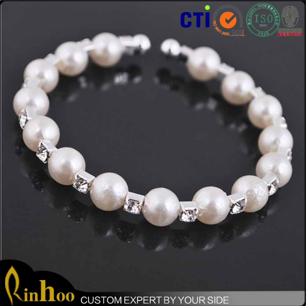 Pure white fake pearl with rhinestone bracelet vogue new style fake pearl bracelet wholesale