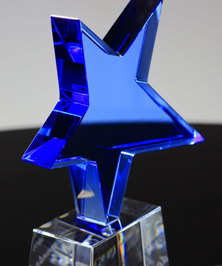 wholesale Blank Star Shape Crystal Trophy Award with base