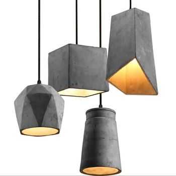 Vintage Concrete Lights Shades Wire Suspended 1 Light Cement Pendant Lamps Product On Alibaba